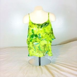 NWT! Wet Seal Neon Green/Yellow Floral Tank Small